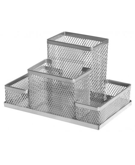 Perforuoto metalo pieštukinė FOROFIS, 4 skyriai, sidabro sp.