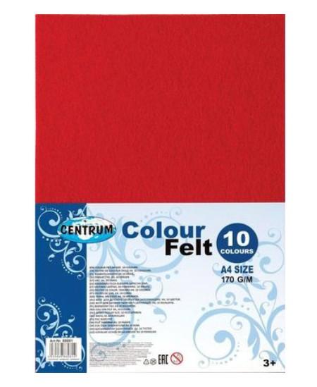 Dekoratyviniai veltinio lakštai CENTRUM, 10 spalvų, A4