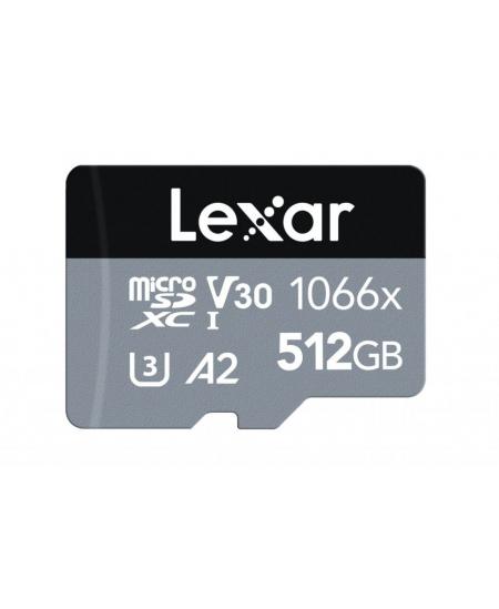 Lexar High-Performance 1066x UHS-I  MicroSDXC, 512 GB, Flash memory class 10, Black/Grey, Class: A2 V30 U3, 120 MB/s, 160 MB/s
