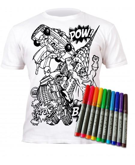 Spalvinami marškinėliai su flomasteriais  SPLAT Herojai, 3-4 m.