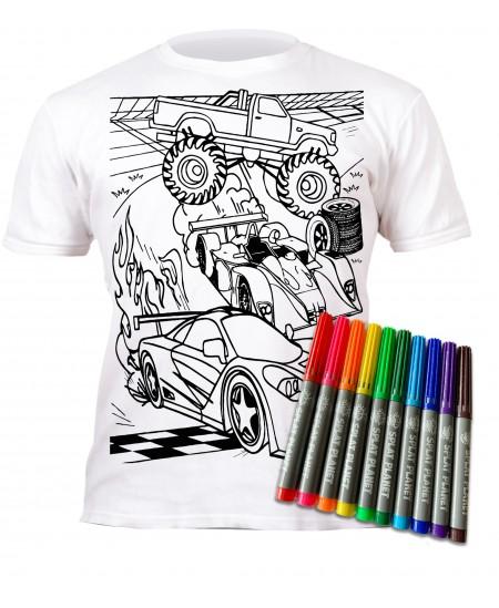 Spalvinami marškinėliai su flomasteriais  SPLAT Mašinos, 3-4 m.
