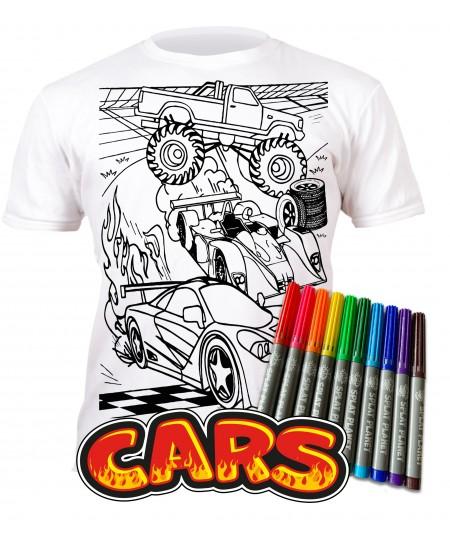 Spalvinami marškinėliai su flomasteriais  SPLAT Mašinos, 5-6 m.