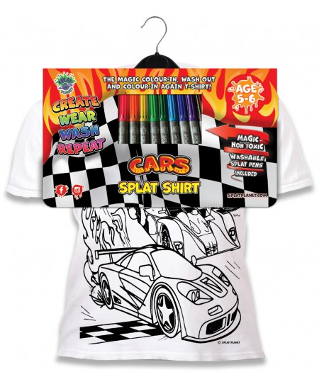 Spalvinami marškinėliai su flomasteriais  SPLAT Mašinos, 7-8 m.