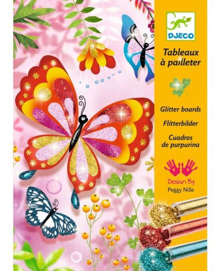 Piešimo blizgučiais rinkinys DJECO Blizgantys drugeliai, 15x21 cm, 4 paveikslėliai