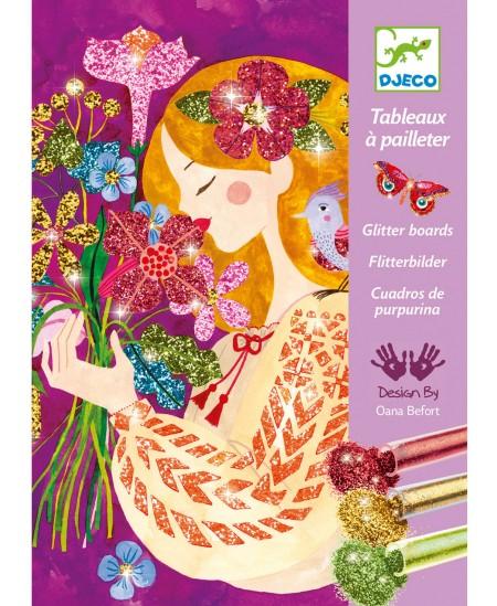 Piešimo blizgučiais rinkinys DJECO Gėlių kvapas, 4 paveikslėliai