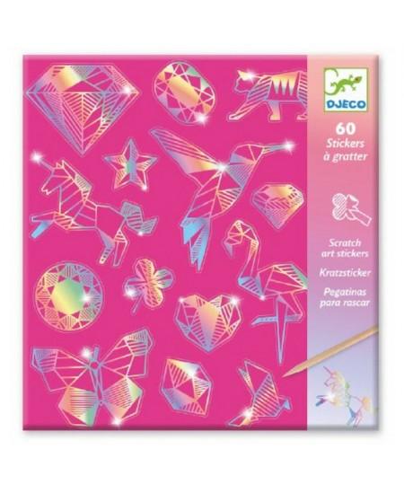 Holograminių lipdukų raižymo rinkinys DJECO Deimantas, 60 lipdukų