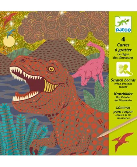 Metalizuoti raižymo paveikslėliai DJECO Kai valdė dinozaurai, 4 vnt.