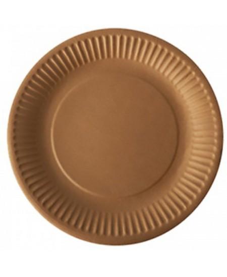 Vienkartinės kraftinio kartono lėkštės, 15 cm, 50 vnt., rudos