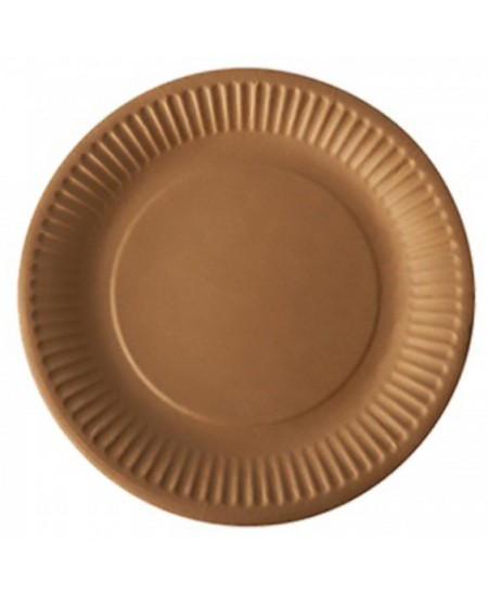 Vienkartinės kraftinio kartono lėkštės, 17,8 cm, 50 vnt., rudos