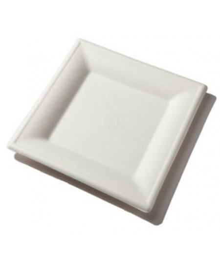 Ekologiškos kvadratinės lėkštės, iš cukranendrių, 16x16 cm, baltos