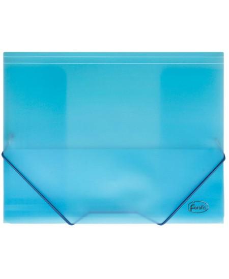 Aplankas su guma FOROFIS, skaidrus, plastikinis, A4, mėlynas