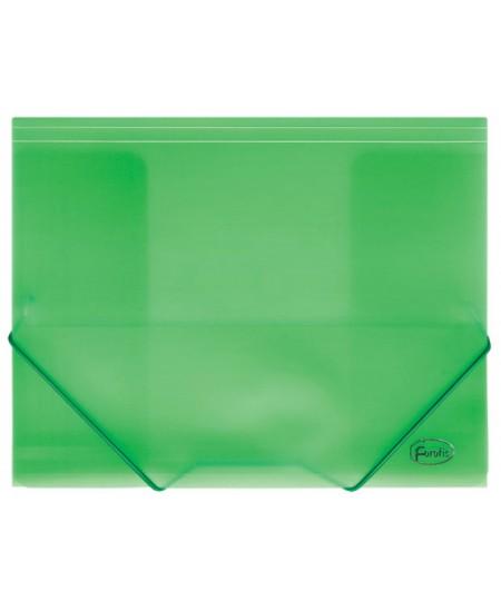 Aplankas su guma FOROFIS, skaidrus, plastikinis, A4, žalias