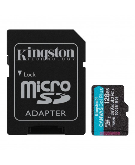Kingston microSD Canvas Go! Plus 128 GB, MicroSD, Flash memory class 10, SD Adapter