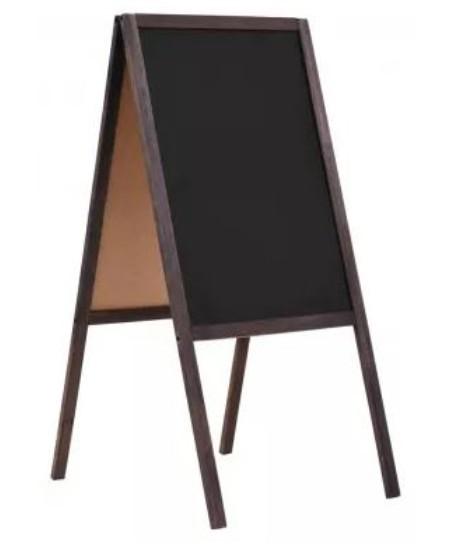 Dvipusė kreidinė lenta, pastatoma, 60x80 cm, juoda