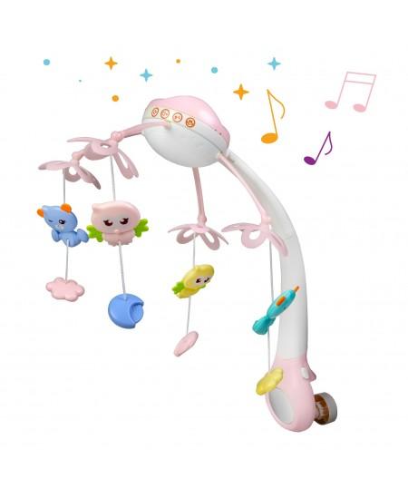 Naktinė lempa ir lovelės varpeliai kūdikiams rožinė