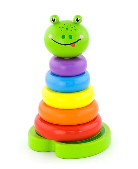 Medinė lavinamoji piramidė VIGA Mokausi spalvų