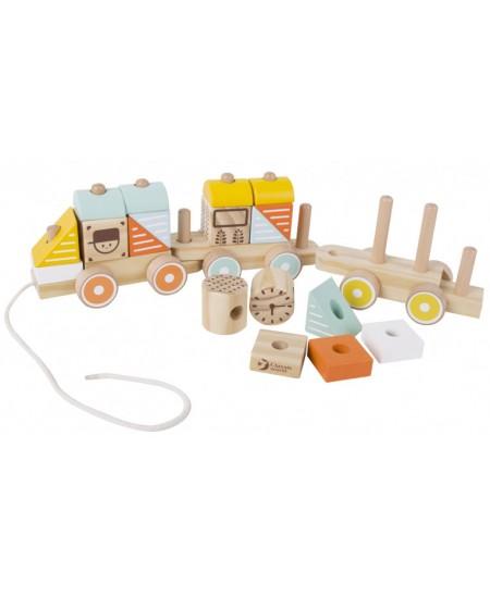 Medinis traukiamas žaislas iš kaladėlių CLASSIC WORLD Traukinukas, 19 detalių