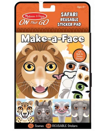 """Daugkartinių lipdukų rinkinys MELISSA & DOUG Make a Face \""""Safaris\"""""""