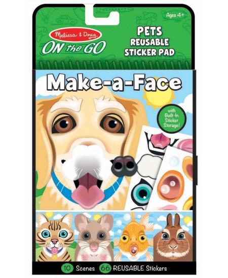 """Daugkartinių lipdukų rinkinys MELISSA & DOUG Make a Face \""""Augintiniai\"""""""