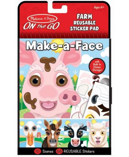 """Daugkartinių lipdukų rinkinys MELISSA & DOUG Make a Face \""""Ūkis\"""""""