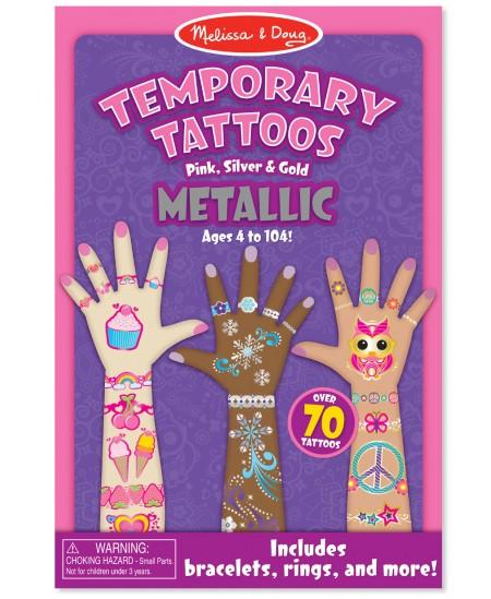 Laikinų tatuiruočių rinkinys MELISSA & DOUG Metalinė
