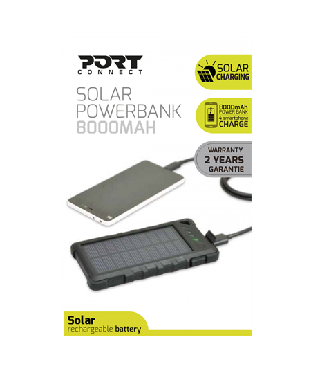 Port Connect Solar Power Bank Battery, 4 smartphone charge, shock and splash proof 8000 mAh, Black