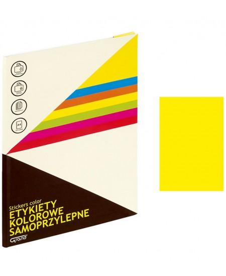Etiketiniai lipdukai GRAND 210x297 mm, A4, 1 lipdukas lape, 25 lapų, neoninė geltona spalva