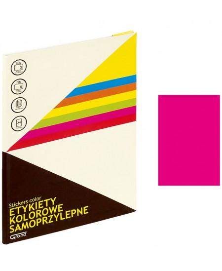 Etiketiniai lipdukai GRAND 210x297 mm, A4, 1 lipdukas lape, 25 lapų, neoninė rožinė spalva