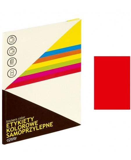 Etiketiniai lipdukai GRAND 210x297 mm, A4, 1 lipdukas lape, 25 lapų, neoninė raudona spalva