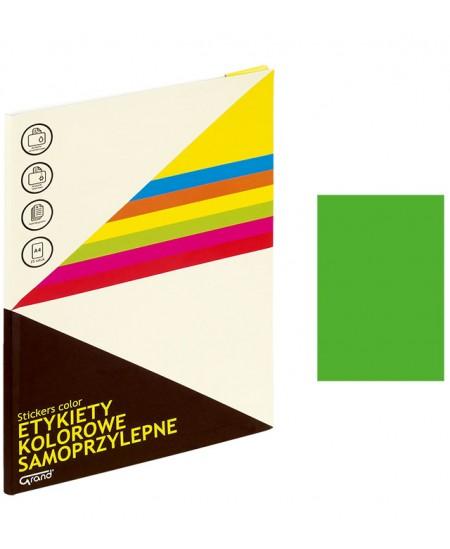 Etiketiniai lipdukai GRAND 210x297 mm, A4, 1 lipdukas lape, 25 lapų, neoninė žalia spalva