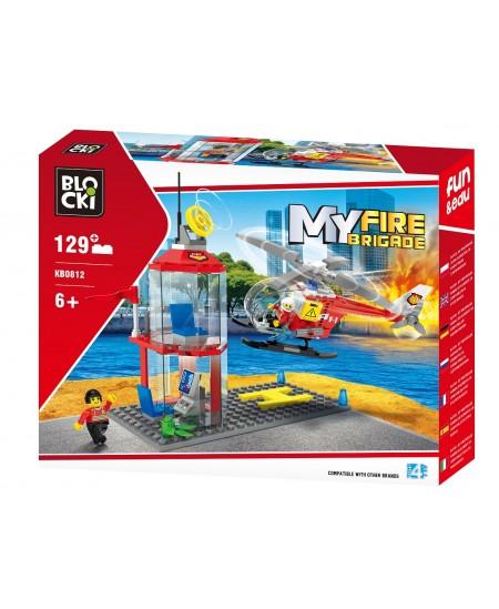 """Konstruktorius BLOCKI My Fire Brigade """"Sraigtasparnio nusileidimo aikštelė"""", 129 detalės"""