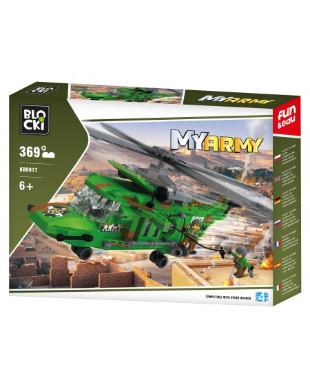 """Konstruktorius BLOCKI My Army """"Kovinis sraigtasparnis"""", 369 detalės"""