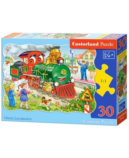 Dėlionė CASTORLAND Green Locomotive, 30 det.