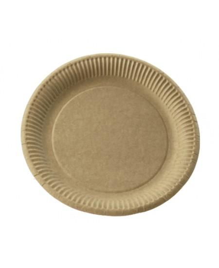 Vienkartinės kraftinio kartono lėkštės, 23 cm, 100 vnt, rudos