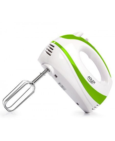 Adler Mixer AD 4205 g Hand Mixer, 300 W, Number of speeds 5, Turbo mode, White/Green