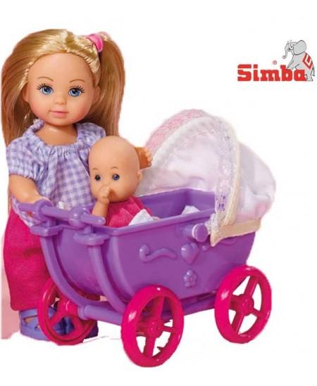 Lėlytė Evi su violetiniu vežimėliu ir kūdikiu SIMBA