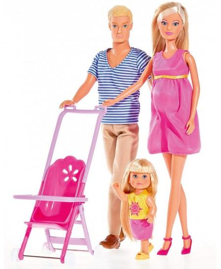 Lėlytės būsima mama Stefi ir Kevinas su kūdikiu SIMBA
