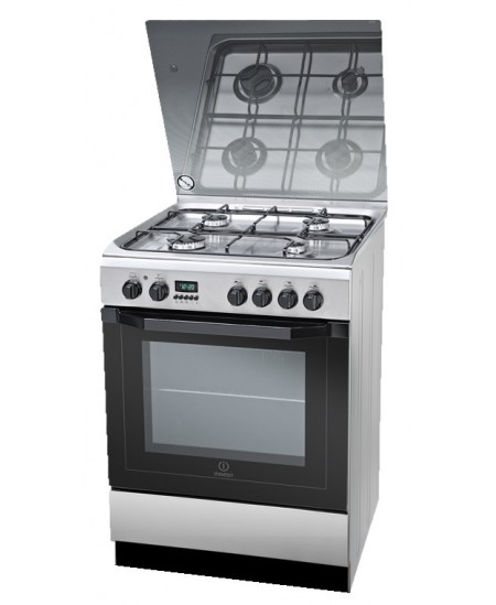 INDESIT Cooker I6GMH6AG(X)/U Hob type Gas, Oven type Electric, Inox, Width 60 cm, Grilling, Electronic, 59 L, Depth 60 cm