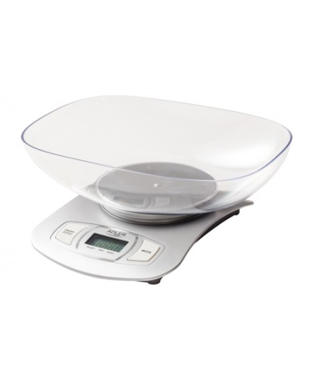 Adler Kitchen scale AD 3137s Maximum weight (capacity) 5 kg, Graduation 1 g, Display type LCD, Silver