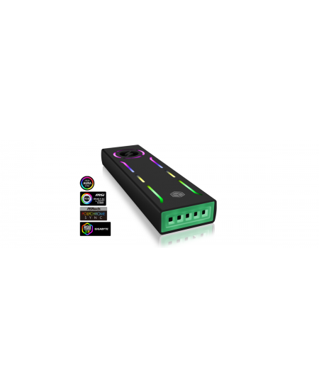 Raidsonic ICY BOX  IB-G1826MF-C31 External Type-C gaming enclosure for M.2 NVMe SSD, ARGB Illumination USB 3.1 (Gen 2) Type-C an