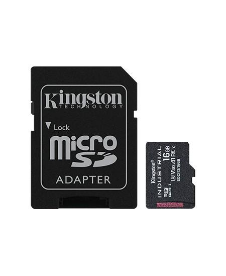 Kingston UHS-I 16 GB, microSDHC/SDXC Industrial Card, Flash memory class Class 10, UHS-I, U3, V30, A1, SD Adapter