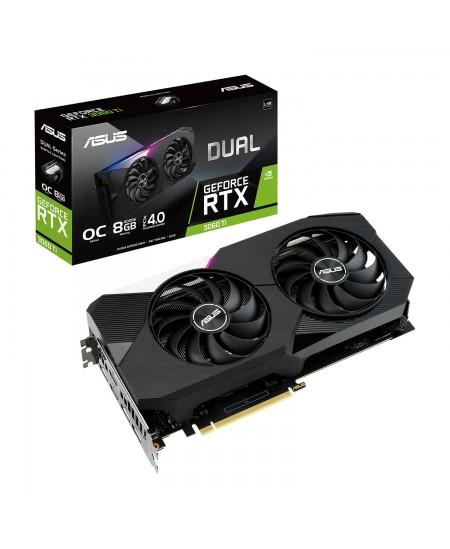 Asus DUAL-RTX3060TI-O8G-V2 LHR version NVIDIA, 8 GB, GeForce RTX 3060 TI, GDDR6, PCI-E 4.0, HDMI ports quantity 2, Memory clock