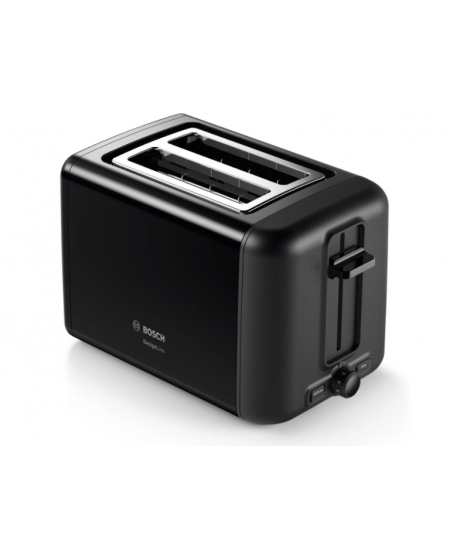 Bosch DesignLine Toaster TAT3P423 Power 970 W, Number of slots 2, Housing material Stainless steel, Black