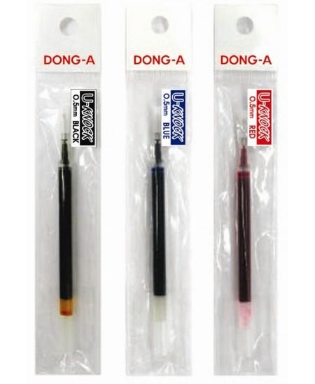 Šerdelė geliniam rašikliui Dong-A U-Knock RT , 0,5 mm, juodos spalvos. 11 cm ilgio