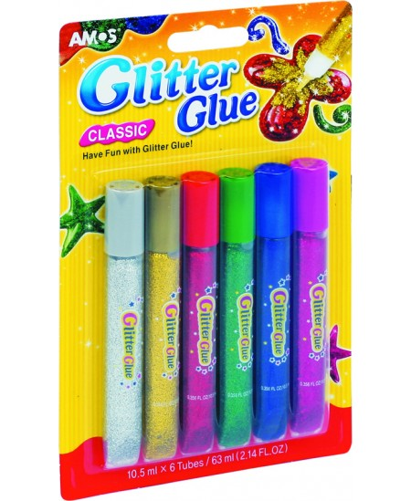 Spalvoti klijai su blizgučiu AMOS Glitter, 6 spalvos