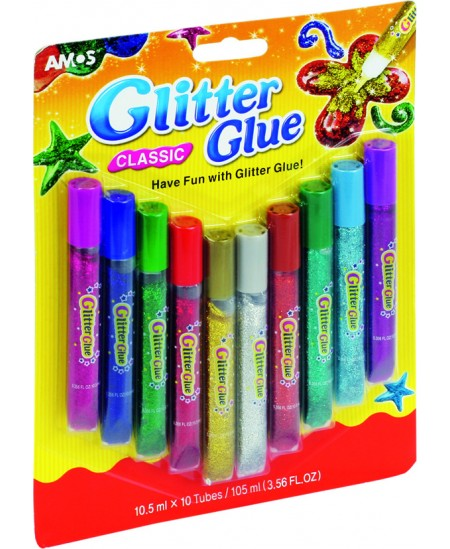Spalvoti klijai su blizgučiu AMOS Glitter, 10 spalvų