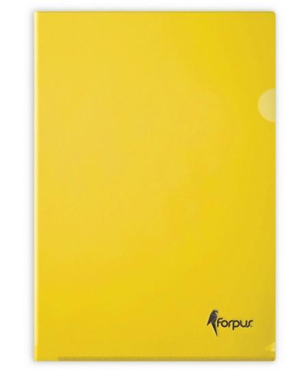 Dėklas L formos FORPUS Premier, 180 mikr., A4, geltonas