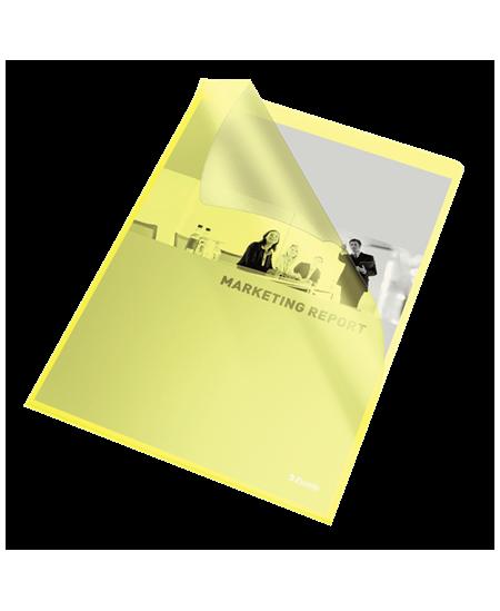Dėklas L formos ESSELTE, 105 mikr., A4, geltonas