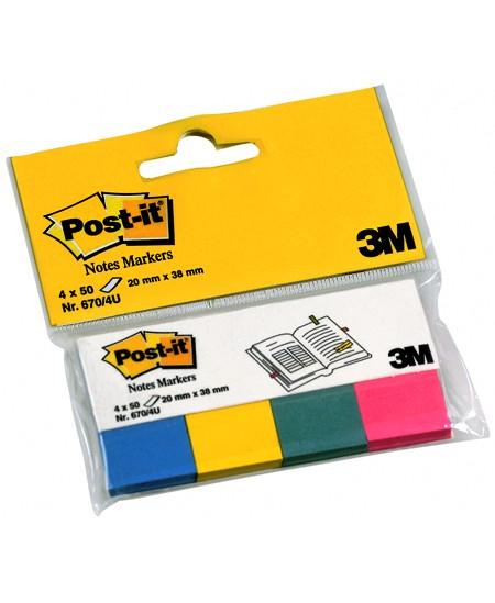 Lipnūs indeksai POST-IT, 20x38 mm, popieriniai, pasteliniai, 4 x 50 vnt.