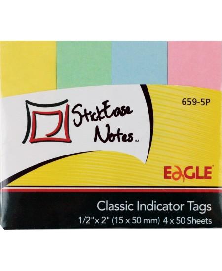 Lipnūs indeksai EAGLE, 15x50 mm, popieriniai, pasteliniai, 4 x 50 vnt.